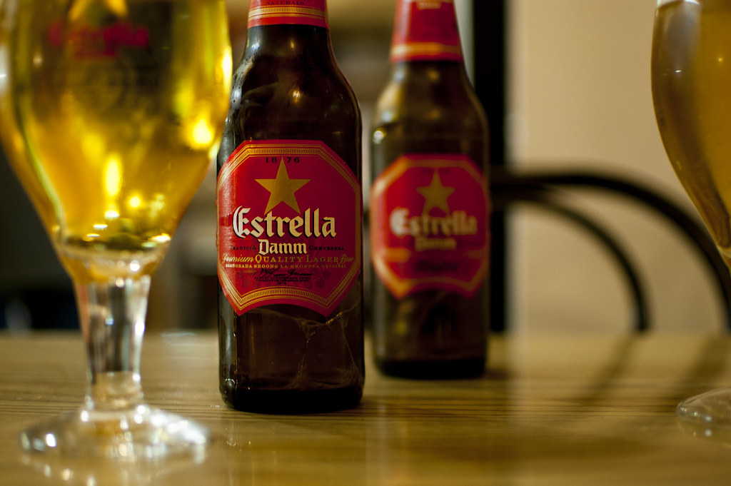 Having a couple of beers. Estrella Damm is one of the most popular breweries in Barcelona