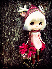 Gavin in flora (maidensuit) Tags: pink paris hat animal forest woods doll crochet ears deer antlers blythe prima dolly