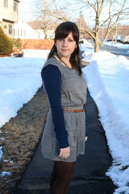 navy blue thermal, mini dress, brown tights, brown boots, Jeffrey Campbell, Forever 21
