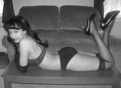 Bettie Page tribute 2 (VictoriaCosplay) Tags: blackandwhite bw up panties table pin highheels bra bettiepage cosplaygirl victoriacosplay wwwcosplaygirlwebscom wwwbettiepagecom
