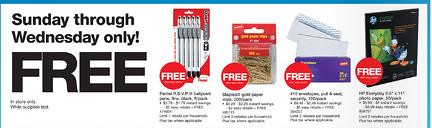 Staples free after rebates promotion
