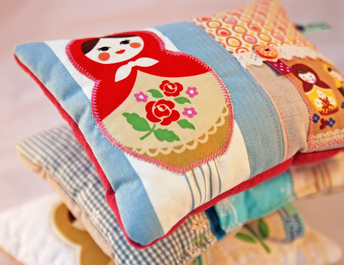 A pile of matryoshka lavender cushions by Once upon a time in the north