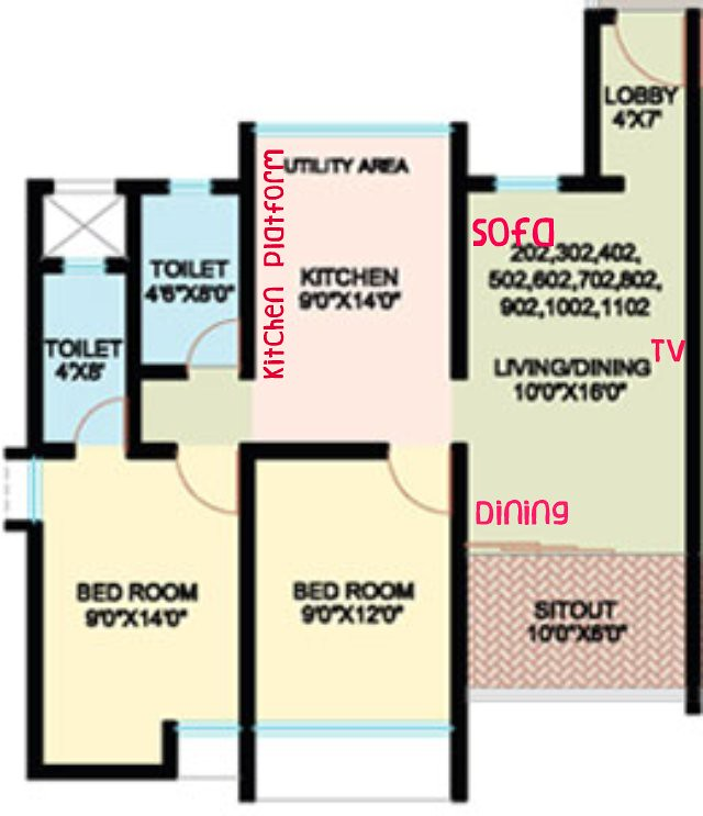 Nanded City Pune, Sarang, 2 BHK Flat - 637 sq.ft. Carpet + 60 sq.ft. Sitout - For Rs. 31.86 Lakhs + Parking + S.T. + VAT