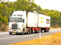photo by secret squirrel (secret squirrel6) Tags: trees motion beautiful moving cabin photos worker trailer seymour ashphalt loaded kw northbound truckdriver kenworth cabover bullbar aerodyne ruralaustralia humehighway bdouble triaxle roundheadlights intercoast bogiedrive squaretanks secretsquirreltrucks