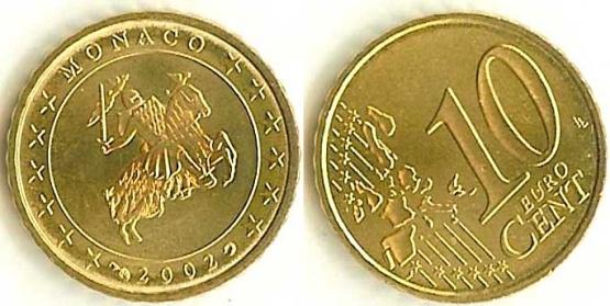 10 Centov Monako 2002