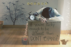 Day 96/365 ~ If You're Lucky Enough to be Different, then Don't Ever Change (Amanda Mabel) Tags: light white tree clock beautiful its birds silhouette yellow glitter writing handwriting photoshop bag paper stars day shadows open floor post box head quote unique text ring fairy cardboard jacket tiles scrabble marker iloveyou ribbon 365 dust pulling leaning shimmer 96 taylorswift amandamabel ifyoureluckyenoughtobedifferentthendonteverchange stayyourself youdontneedtochange