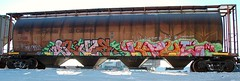 GI Joe/Kaput (LadyBench) Tags: train graffiti winnipeg rail joe nr kaput freight gi fr8 benching