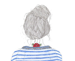 de cuentos nipones. (puntobipolar) Tags: lines rose illustration hair punto little drawing top knot sketches bipolar
