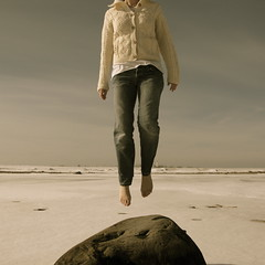 March 16, 2011:  Springish (sonyacita) Tags: selfportrait snow ontario rock self jump jumping barefeet bluejeans cardigan lakehuron utatafeature