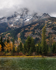 Jenny Lake (bhophotos) Tags: travel autumn usa lake fall nature water clouds landscape geotagged nikon wyoming nikkor tetons grandtetonnationalpark d300 jennylake gtnp 2470mmf28g jacksonholevalley