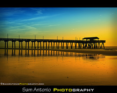 Farewell Atlantic Ocean - Tybee Island Pier, Georgia (Sam Antonio Photography) Tags: blue sun color beach nature water yellow clouds sunrise reflections catchycolors georgia mirror golden pier seascapes unitedstates outdoor explore tybeeisland atlanticocean stockphotography firstdayofspring travelphotography landscapephotography americansouth canon24105f4 flickaday canoneos5dmkii samantonio samantoniophotographycom georgiaphotographylocations