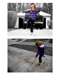 Jillian at play (sbee511) Tags: girl pointofview driveway hopscotch onefoot