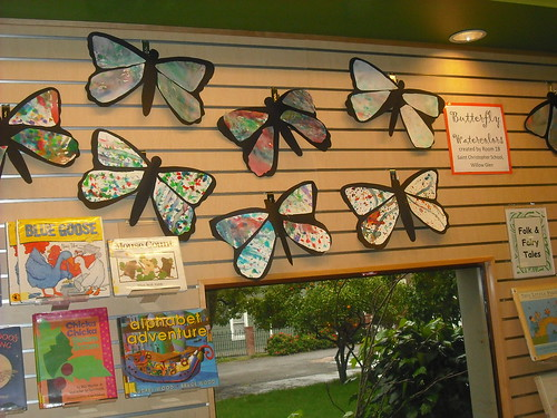 Exhibit of St. Christopher School butterflies at Willow Glen Library