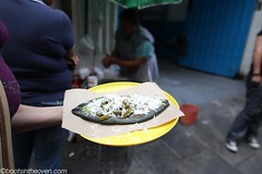 Our tlacoyo (Boots in the Oven) Tags: travel blue cheese mexico mexicocity df bean northamerica aba masa nopales tlacoyo