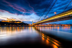 Night colors (Miroslav Petrasko (blog.hdrshooter.net)) Tags: new city bridge blue sunset reflection castle water colors night clouds canon river sigma novy center most 1020mm bratislava danube hdr hrad topaz puple dunaj photomatix gorillapod 450d mygearandme mygearandmepremium mygearandmebronze mygearandmesilver mygearandmegold mygearandmeplatinum mygearandmediamond theodevil hdrshooter