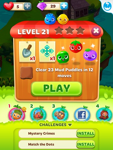 Fruit Splash Mania Level Setup: screenshots, UI