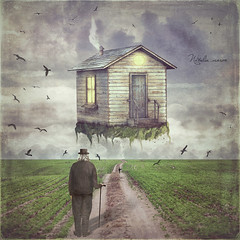 Illustration art of a  small house  in   sky  above  glade (marozn) Tags: background cartoon sky art cover fantasy illustration old grunge abstract surreal illusion idea imagination clouds artist dreams retro magic house home architecture fly flying move apartment concept up moving door light nature grass way air heaven field above road birds man men boy adult male grandfather one walk older back
