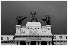 """La Gloria y los Pegasos"" (Miguel Angel Prieto Ciudad) Tags: city travel light europe old urban architecture building black white monument art monochrome spain sculpture madrid pegasus ministry"