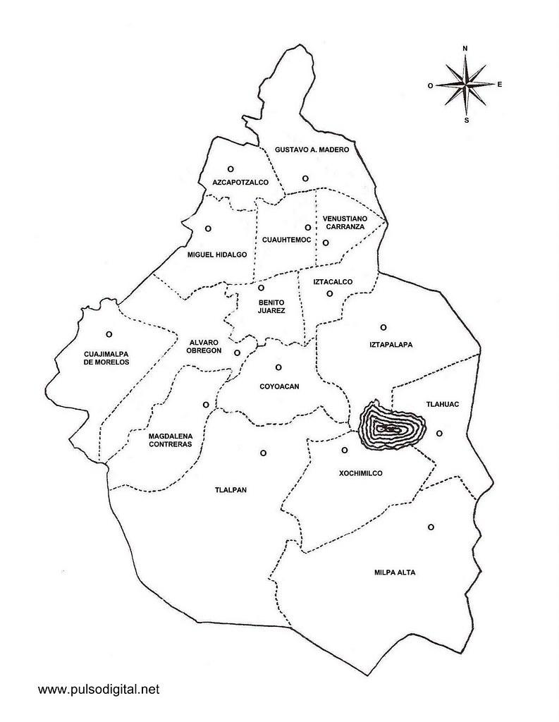 Mapa Del Distrito Federal Con Divisin Poltica Y Nombres