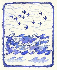 Summer Returns (Forest & Sea) Tags: ocean travel blue sea summer sky white color colour bird art nature water birds watercolor painting coast flying waves wind air fresh illustrationfriday watercolour ultramarine swallow barnswallow migration bluewhite cobalt blueandwhite vformation slipstream naturalevent