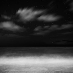 Irish Sea (shaymurphy) Tags: ocean sea sky blackandwhite bw irish white black blur beach night clouds dark stars movement nikon long exposure surf waves shoreline wave blurred nightsea nikond700 nikkor2470f28