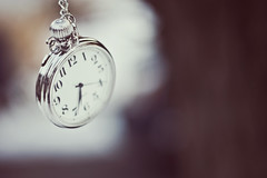 """No time to say goodbye, hello!  I'm late! I'm late! I'm late!"" (Erica Parker) Tags: tree clock silver outside shiny bokeh watch january pocket f18 item collaboration"