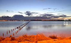Saltern pond (Mat.Tauriello) Tags: sardegna longexposure nightphotography sea urban italy beach architecture night dark lights p