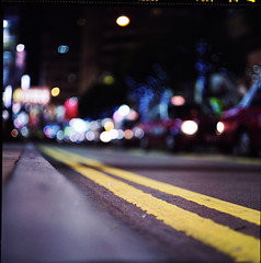 ..And I Still Got Love for The Streets (Reprise) (NyYankee) Tags: china street 120 6x6 film lines car mediumformat hongkong lights bokeh central timessquare pentaconsixtl fujipro400h autaut carlzeissjenabiometar80mmf28