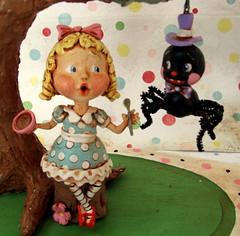 Little Miss Muffet 5 (thepolkadotpixie) Tags: sculpture paper book mixed media doll folkart hand little polka dot pixie story clay childrens miss mache sculpted muffet nurseryrhyme
