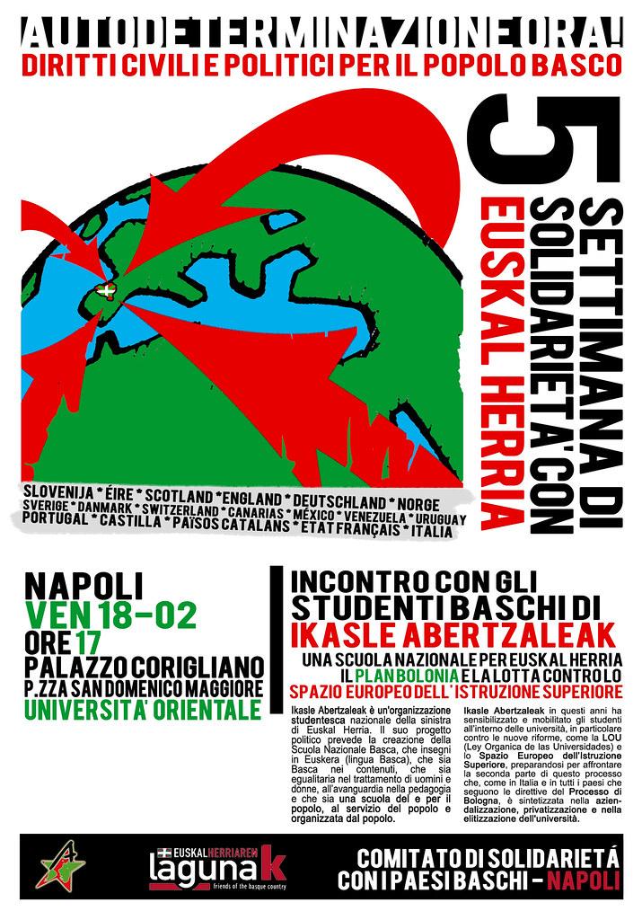 Venerdì 18/02> Incontro con gli studenti baschi di Ikasle Aberzaleak