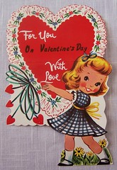Vintage Valentine Card (MissConduct*) Tags: decorations cute girl vintage illinois 60s heart valentine retro collection card decor greeting valentinesday missconduct oldglorycottage