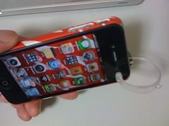 iPhoneにブロギー360°レンズ装着、前面