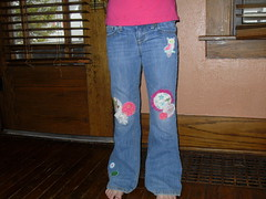 Trinity's patched jeans