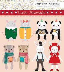 Set of Cute Animals. Printable Digital Clip Art. (Minipop Design) Tags: bear rabbit animals digital scrapbooking mouse graphicdesign panda background images wonderland whimsical printable