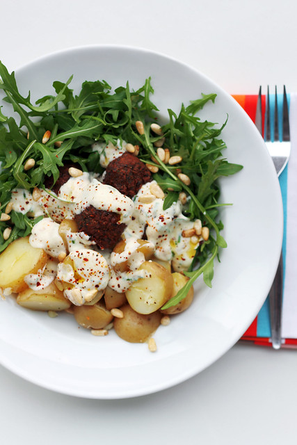 New potatoes, Falafels and Paprika Yogurt