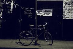 Sense From Cents (mheidelberger2000) Tags: nyc newyorkcity urban bike bicycle les danger graffiti construction manhattan crossprocess lowereastside sidewalk cents postnobills gothamist nosmoking minimalism sense hardhatarea icantmakesenseoutofcents