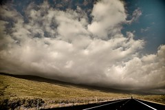 Big Island Cloud (RavenEcho (edward steven perry)) Tags: road travel shadow sky mountain color green apple nature field car landscape island hawaii big aperture perspective process could converginglines