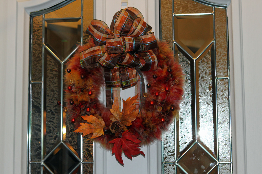 Fall marabou wreath with autum leaves, pine cone, berries and matching bow