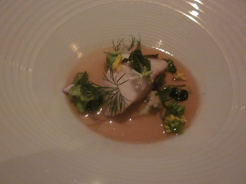 Manresa - Los Gatos, CA - Citrus Dinner - February 2011 - Black Cod, jus of bones and Beef Skin, Brassicas and Flowers with Ginger, Dill and Kabuso Citrus