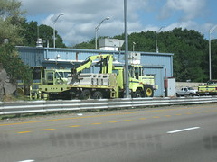 various MassHighway trucks at depot (MassHighway Man) Tags: highway massachusetts pickuptruck roadsign streetsweeper frontendloader highwaydepartment statehighway hovlane highwaymedian masshighway massdot zipperlane