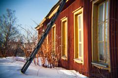 harakka (miemo) Tags: windows winter house snow building facade finland wooden helsinki europe exterior cottage ladder harakka hlc holgalens holgaef gettyimagesfinlandq1