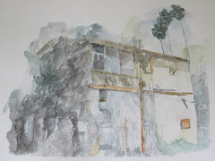 (Hava Matzkin Eilam Art) Tags: trees windows urban house nature pencil watercolor drawing air palm portfolio  hava  eilam   matzkin