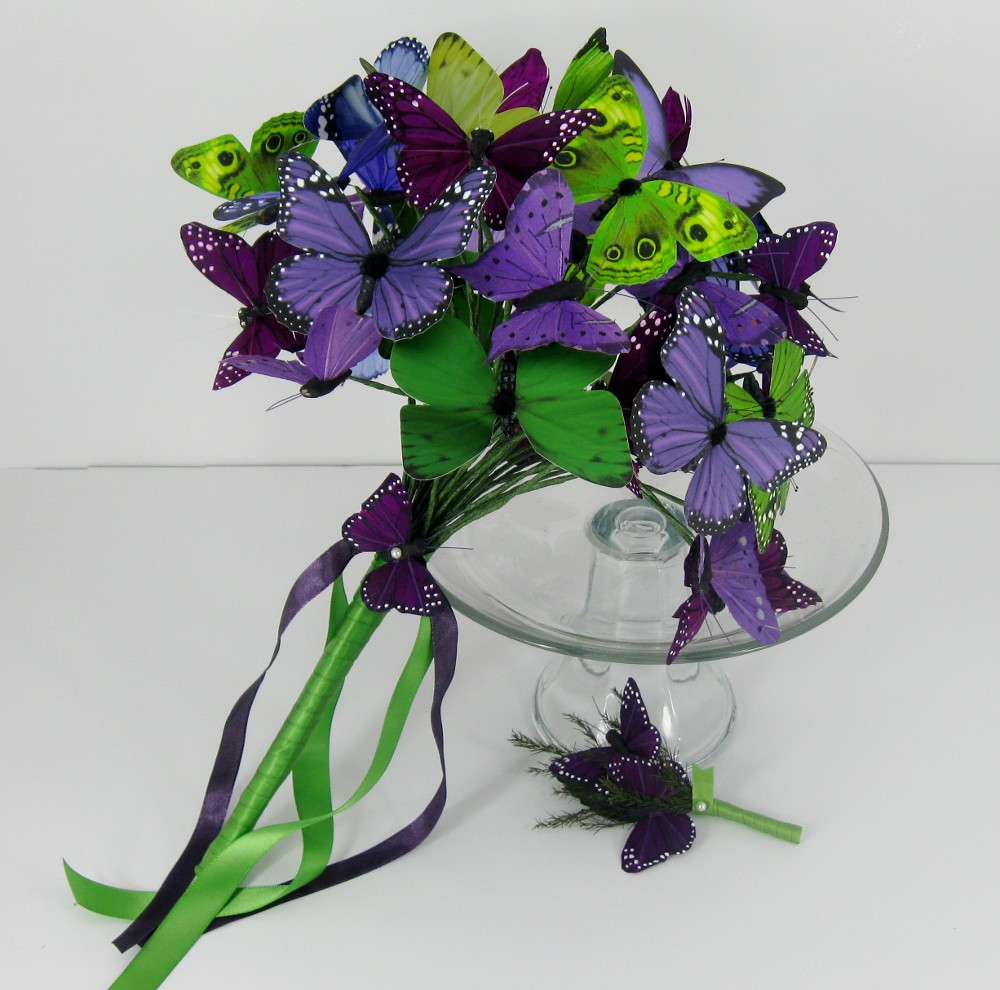 Purple and green artificial butterfly bridal bouquet.