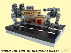"""""""Hold the line at Bleaker Street"""" (2 Much Caffeine) Tags: lego military micro scifi walkers mech moc"""