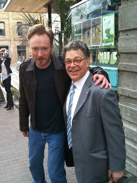 Conan O'Brien and Al Franken. Photo by Karl Mueller, used with permission.