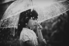 little | prayer (omaroza) Tags: portrait white black rain japan umbrella 50mm earthquake nikon child f14 sigma gilr donation omar gajah tohoku melaka alor d90 mokhtar omarozacom donationjp