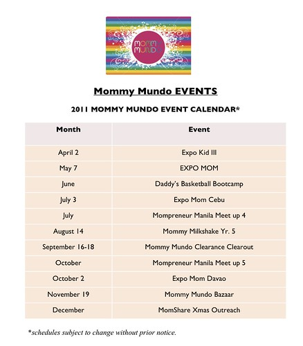 Mommy Mundo EVENTS calendar 2011 rev
