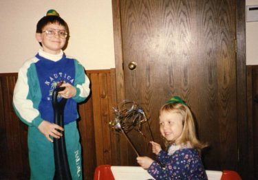 St. Patrick's Day parade with Will (almost eight) and Christina (almost three), 1993.
