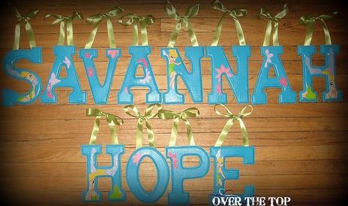 "SAVANNAH HOPE 6"" Custom Hand Painted Alphabet Letters *Tinkerbell*"