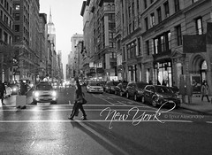 Crossing the Fifth Avenue, New York (GlobusTraveler) Tags: nyc newyorkcity light shadow blackandwhite bw usa newyork skyscraper walking island evening twilight crossing village traffic manhattan taxi commute borough empirestate gothamist fifthavenue gotham bigapple flatiron greenwichvillage tallbuilding 5thav